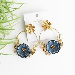 NWT KATE SPADE DENIM FLOWER EARRINGS